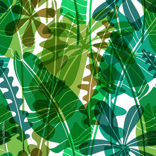 Obraz na płótnie Vector seamless pattern with green drawn tropical leaves various shape