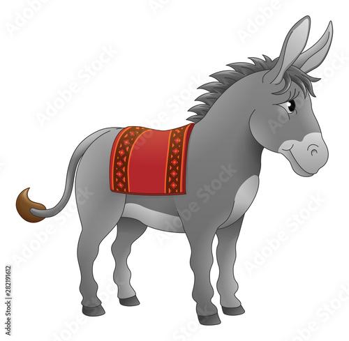 Stampa su Tela A donkey cute animal cartoon character illustration