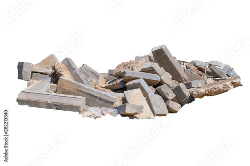 Obraz na płótnie Construction waste, concrete debris from the demolition, road