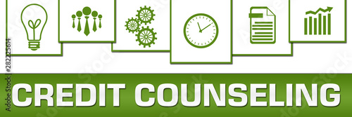 Fotomural Credit Counseling Business Symbols Green White On Top Horizontal