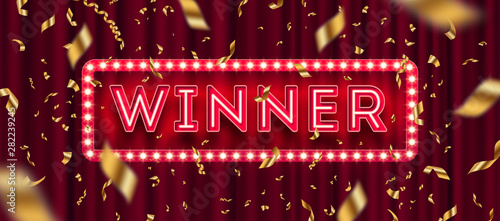 Photographie Neon light winner retro signboard and golden foil confetti against a red curtain background