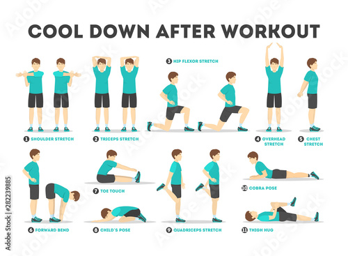 Cool down after workout exercise set. Collection Fototapeta