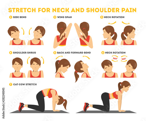Fotografie, Obraz Neck and shoulder exercise. Stretch to relieve neck pain