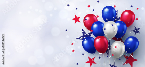 Fotografia, Obraz Festive design with helium balloons in national colors of the american flag and with pattern of stars on white background