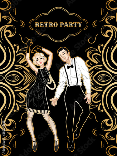 Retro party card, man and woman dressed in 1920s style dancing, flapper girls ha Fototapeta