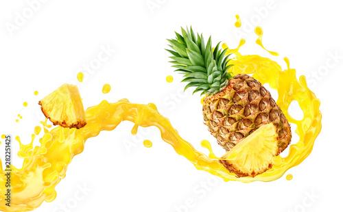 Fotografia Fresh ripe pineapple, slice and pineapple juice 3D splash wave