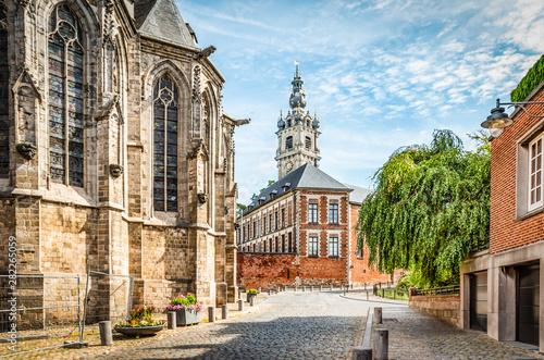 Fényképezés Cobbled street with church and belfry tower in Walloon city center of Mons, Hainaut, Belgium