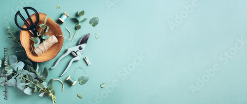 Eucalyptus branches and leaves, garden pruner, scissors, wooden plate over green background with copy space. Florist concept, top view