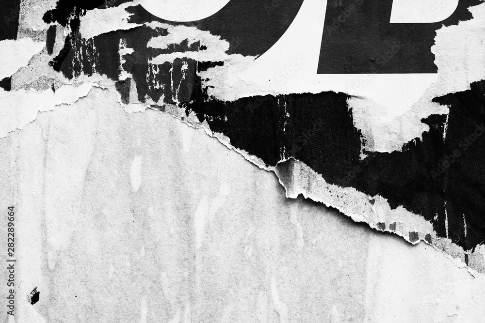 Old blank white grunge ripped torn posters crumpled paper background wall empty space for text