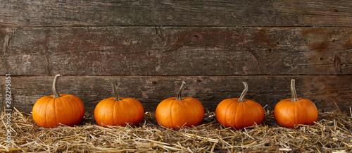 Canvas Print Orange halloween pumpkins on stack of hay or straw
