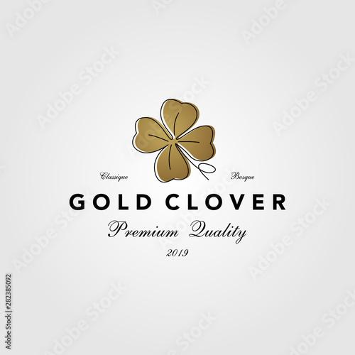 vintage gold clover leaf logo vector icon illustration Fototapete