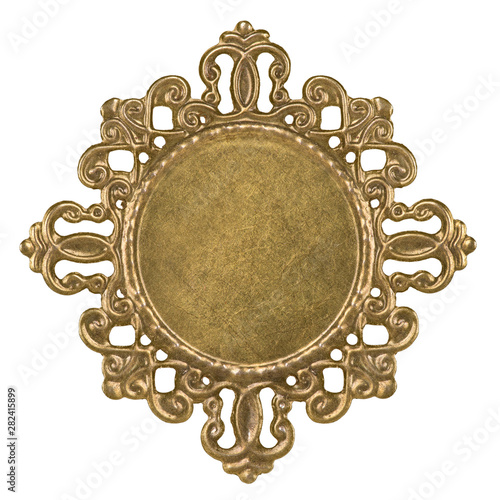 Canvas openwork basis for cabochon brooch made of brass isolated on white background cl