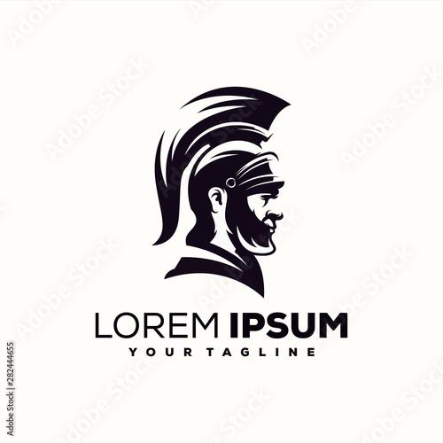 awesome spartan warrior logo design Fototapeta