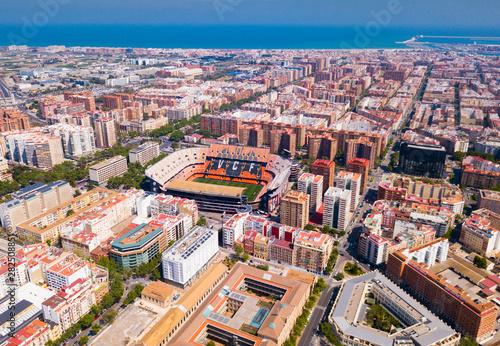 Valencia, Spain - April 16, 2019: Top view of the new Mestalla stadium. Valencia, Spain