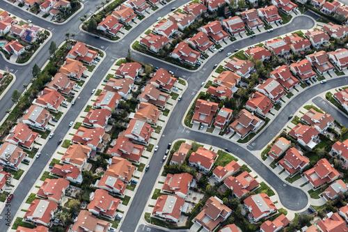 Wallpaper Mural Aerial view of typical suburban cul-de-sac street in the San Fernando Valley region of Los Angeles, California