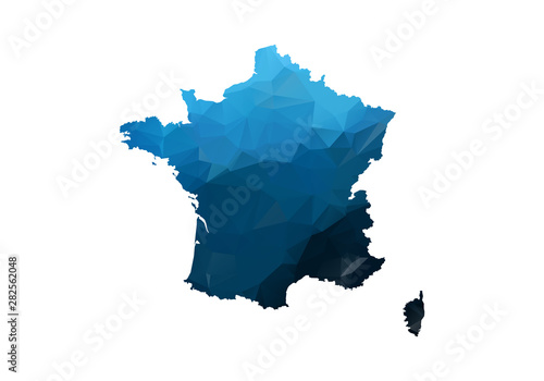 Obraz na płótnie Vector Map - Blue Geometric Rumpled Triangular