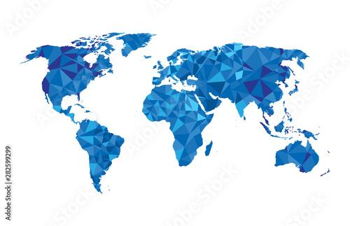 Naklejka na szafę Trójkątne kształty geometryczne układające się w  mapę świata