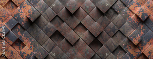Industrial metal rusty background texture, Cube shape elements pattern. 3d illustration