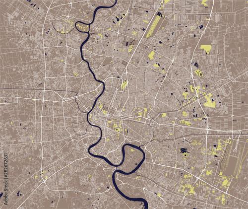 Obraz na plátně vector map of the city of Bangkok, Krung Thep Maha Nakhon, Kingdom of Thailand
