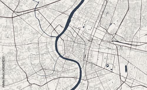 Fotografie, Obraz vector map of the city of Bangkok, Krung Thep Maha Nakhon, Kingdom of Thailand