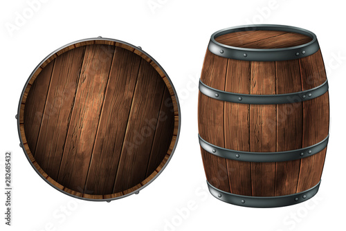 Photo A wooden barrel for storing alcoholic beverages and a barrel lid