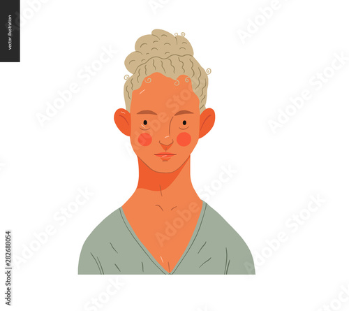 Slika na platnu Real people portrait - hand drawn flat style vector design concept illustration of a young blond curly-headed woman, face and shoulders avatar