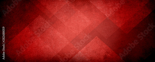 Fotografie, Tablou abstract red background with black grunge borders, triangle shapes in red transp