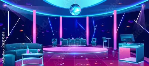 Photo Nightclub interior with bright neon illumination, stools near bar counter, comfo