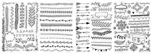 Obraz na płótnie set of hand drawing doodle page divider, border, corner in doodle floral style