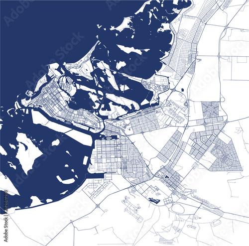Fototapeta map of the city of Abu Dhabi, United Arab Emirates UAE