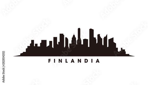 Helsinki skyline and landmarks silhouette vector