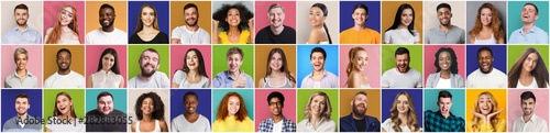 Fotografiet Collage of smiling and happy multiethnic people