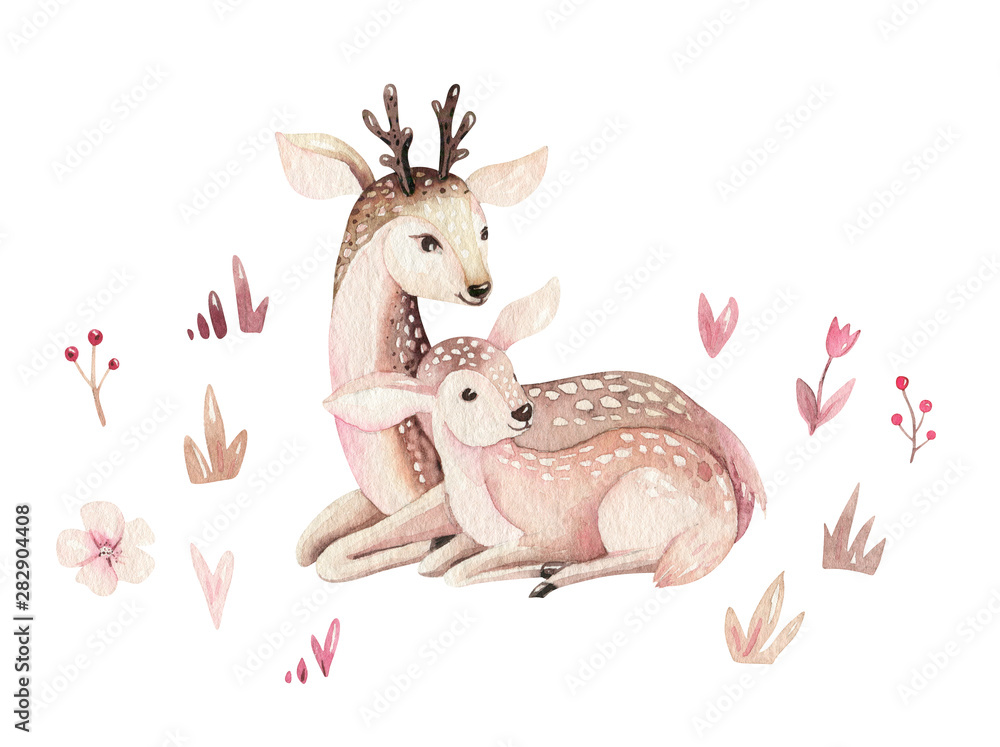 Watercolor little deer baby and mother watercolour bembi cartoon baby nursery. Forest funny young deer illustration. Fawn animal. Mom and baby decor <span>plik: #282904408   autor: kris_art</span>