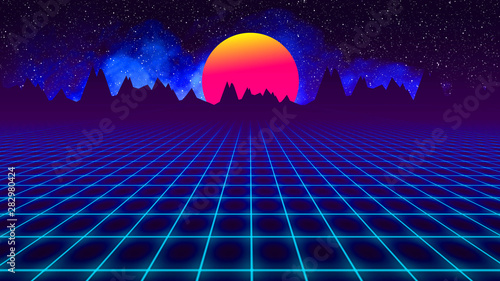 Leinwand Poster background retro 1980 , sun between mountains silhouette and sky whit stars whit grid and smoke
