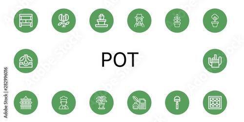 Carta da parati Set of pot icons such as Potting bench, Carnivorous plant, Flower pot, Gardener,