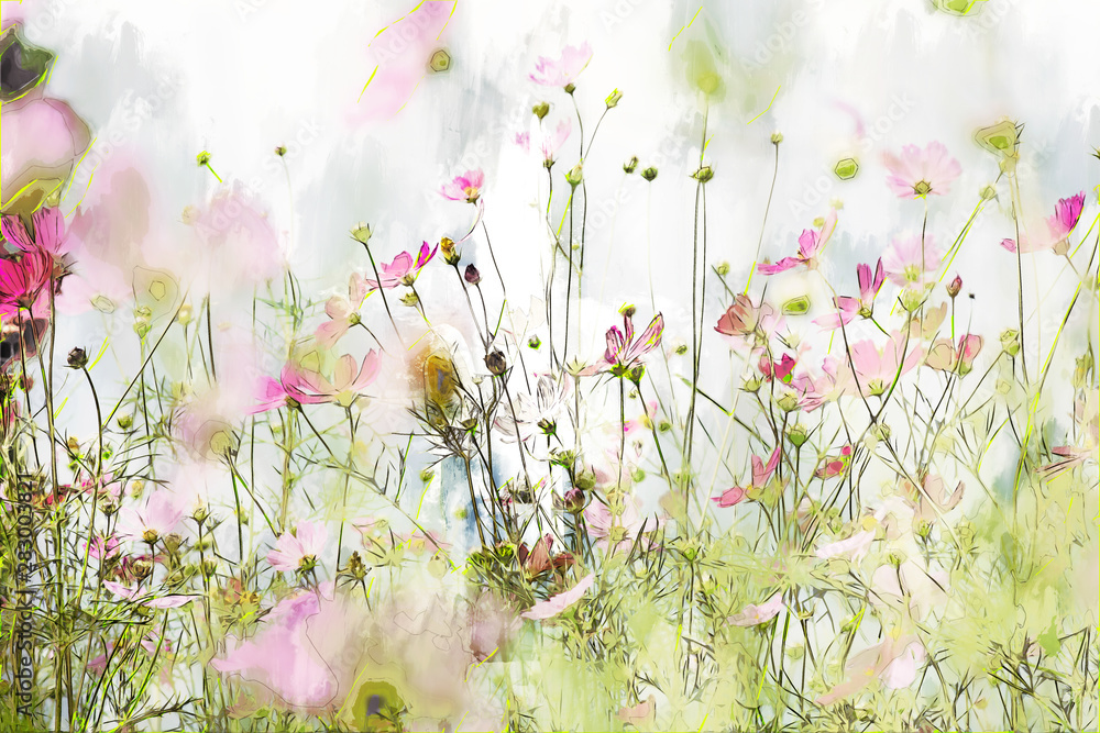 Digital painting of cosmos flower on cool tone background - obrazy, fototapety, plakaty