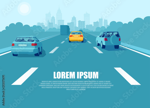 Fotografie, Obraz Vector of a city transport driving on a highway
