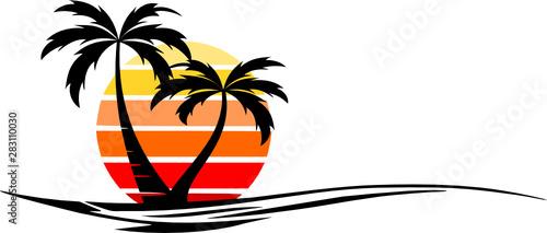 Canvas Print Beach Palm Skyline Vector Silhouette