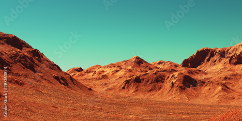 Stampa su Tela Mars landscape, 3d render of imaginary mars planet terrain, science fiction illustration