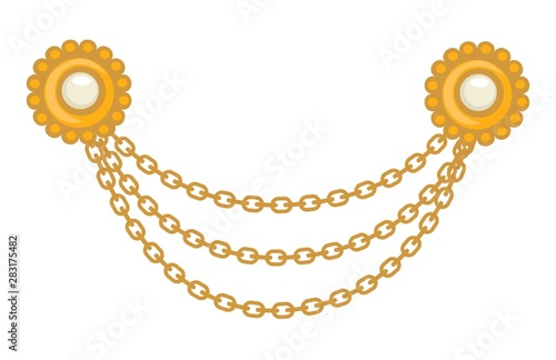 40s Gold jewelry, brooch and chains, 1940s accessory Fotobehang