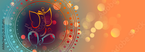 Photo beautiful lord ganesha design colorful banner template
