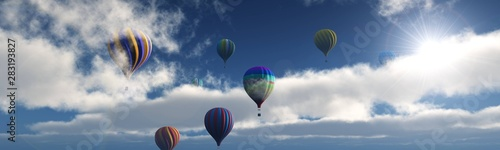 Fotografia, Obraz Balloons in the sky. Balloons among the clouds