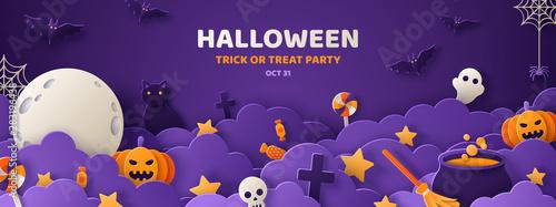Fotografiet Halloween violet paper cut banner