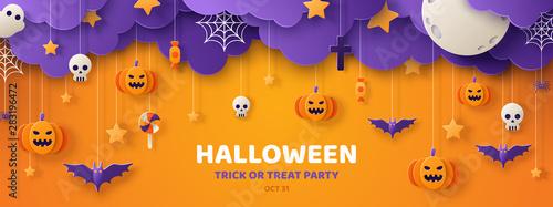Fotografiet Halloween orange paper cut banner