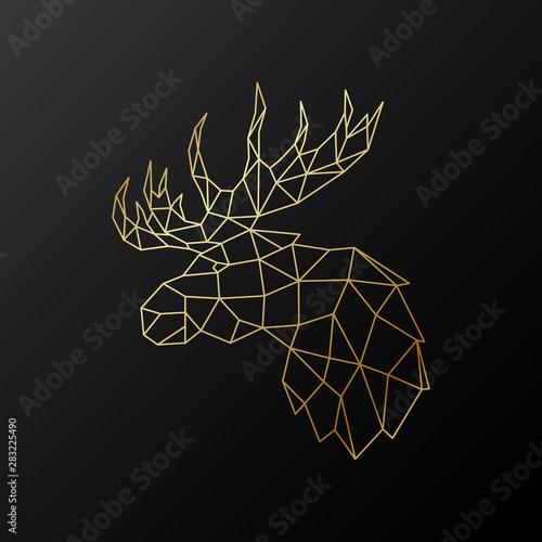 Fototapeta Golden polygonal Elk illustration isolated on black background