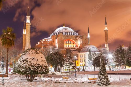Photo Hagia Sophia winter time at night