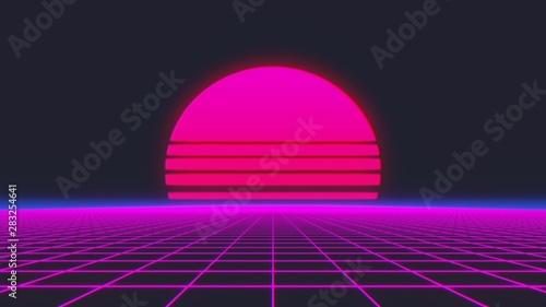 Fotografia Retro Futurism Background 1980s style. 3d illustration