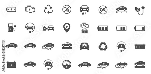 electric eco car vector icons set isolated on white background. electric ecological transport comcept. electric car flat icons for web, mobile and ui design.
