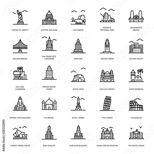 Leinwand Poster Landmarks Line Icons