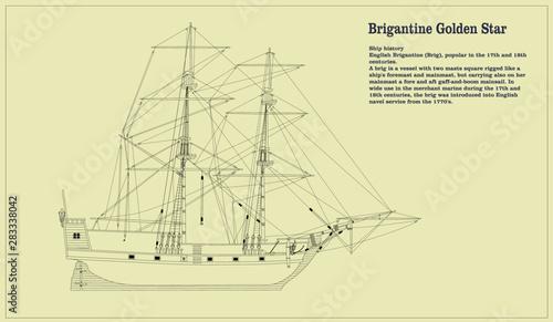 Obraz na płótnie Drawing of Brig Golden Star.